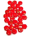 30 Czech Glass 6mm Honeycomb Hex 2-Hole Beads - Gold Splash Red Opaque
