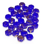 30 Czech Glass 6mm Honeycomb Hex 2-Hole Beads - Gold Splash Royal