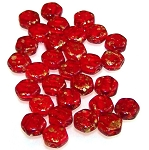 30 Czech Glass 6mm Honeycomb Hex 2-Hole Beads - Gold Splash Ruby