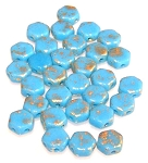 30 Czech Glass 6mm Honeycomb Hex 2-Hole Beads - Gold Splash Turquoise Blue