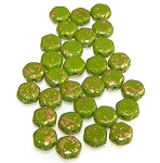 30 Czech Glass 6mm Honeycomb Hex 2-Hole Beads - Gold Splash Wasabi
