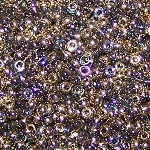 7.5 Grams of Miyuki Czech Unions Size 11 Seed Beads - Crystal Golden Rainbow