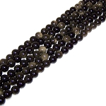 1 Strand of 8mm Round Semiprecious Gemstone Beads - Golden Sheen Obsidian