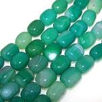 1 Strand of Semiprecious Gemstone Large Nugget Beads - Green Agate
