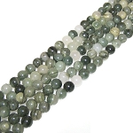 1 Strand of 8mm Round Semiprecious Gemstone Beads - Green Line Quartz