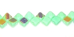 40 Czech Glass Silky 2-Hole 6mm Beads - Green Opaque AB