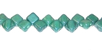 40 Czech Glass Silky 2-Hole 6mm Beads - Green Opaque Blue Luster
