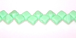 40 Czech Glass Silky 2-Hole 6mm Beads - Green Opaque