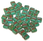 40 Grooved Tile 2-Hole Czech Glass Groovy Beads - Turquoise Green Dark Travertine