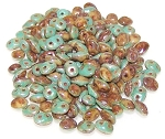7.5 Grams - Superduo Beads - DUETS - Green Turquoise And Ivory Picasso