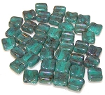 40 Grooved Tile 2-Hole Czech Glass Groovy Beads - Turquoise Green Luster