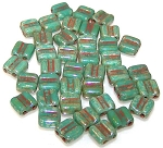 40 Grooved Tile 2-Hole Czech Glass Groovy Beads - Turquoise Green Picasso