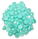 7.5 Grams of 6mm Czech Glass 2-Hole Cabochon Beads - Green Turquoise Shimmer