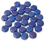30 Czech Glass 6mm Honeycomb Hex 2-Hole Beads - Hodge Podge Blue Luster