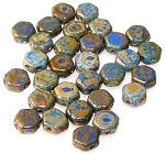 30 Czech Glass 6mm Honeycomb Hex 2-Hole Beads - Hodge Podge Blue Picasso