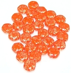 30 Czech Glass 6mm Honeycomb Hex 2-Hole Beads - Hodge Podge Orange Splash
