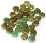 30 Czech Glass 6mm Honeycomb Hex 2-Hole Beads - Hodge Podge SeaFoam Luster