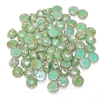 7.5 Grams of 6mm Czech Glass 2-Hole Cabochon Beads - Light Jade Picasso