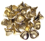 10 Czech Glass 10x12mm 3-Petal Flower Beads - Jet Amber Full