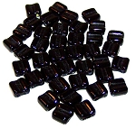 40 Grooved Tile 2-Hole Czech Glass Groovy Beads - Jet