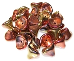 10 Czech Glass 10x12mm 3-Petal Flower Beads - Jet California Gold Rush