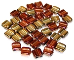 40 Grooved Tile 2-Hole Czech Glass Groovy Beads - Jet California Gold Rush