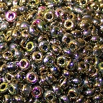 7.5 Grams Of Miyuki Czech Unions Size 8 Seed Beads - Jet California Meadow