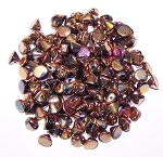 5 Grams of 4mm Czech Glass Button Beads - Jet Full Capri Rose