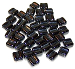40 Grooved Tile 2-Hole Czech Glass Groovy Beads - Jet Hematite