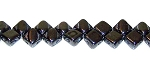 40 Czech Glass Silky 2-Hole 6mm Beads - Jet Hematite