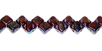 40 Czech Glass Silky 2-Hole 6mm Beads - Jet Iris Luster