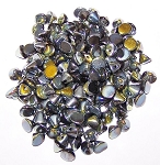 5 Grams of 4mm Czech Glass Button Beads - Jet Full Marea
