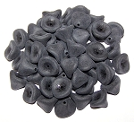 10 Czech Glass 10x12mm 3-Petal Flower Beads - Jet Matte