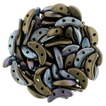 7.5 Grams of CzechMates Crescent Czech Glass Beads - Jet Matte Bronze Vega