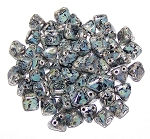 10 Pyramid 6mm Stud Beads - Jet Picasso