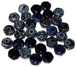 30 Czech Glass 6mm Honeycomb Hex 2-Hole Beads - Jet Picasso