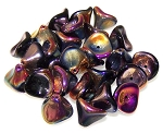 10 Czech Glass 10x12mm 3-Petal Flower Beads - Jet Full Sliperit
