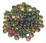 7.5 Grams of Czech 2-Hole 6mm Lentil Beads - Jet Vitrail Full
