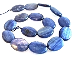 1 Strand of 18x25mm Puff Oval Semiprecious Gemstone Beads - Kyanite