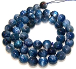 1 Dozen 8mm Round Semiprecious Gemstone Beads - Kyanite