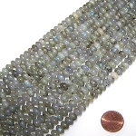 1 Strand of 8x5mm Puff Rondelle Semiprecious Gemstone Beads - Labradorite