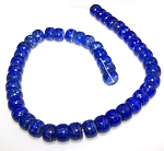 1 Strand of 12x8mm Puff Rondelle Semiprecious Gemstone Beads - Lapis Lazuli
