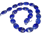 6 Lapis Lazuli 13x18mm Puff Oval Semiprecious Gemstone Beads