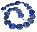 1 Strand of 20mm Puff Coin Semiprecious Gemstone Beads - Lapis Lazuli