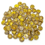 7.5 Grams of 6mm Czech Glass 2-Hole Cabochon Beads - Lemon Picasso