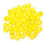 7.5 Grams of 6mm Czech Glass 2-Hole Cabochon Beads - Lemon Shimmer