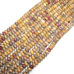 1 Strand of 8x5mm Puff Rondelle Semiprecious Gemstone Beads - Leopardskin Jasper
