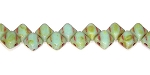 40 Czech Glass Silky 2-Hole 6mm Beads - Light Green Turquoise Travertine