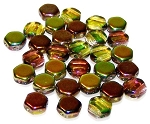 30 Czech Glass 6mm Honeycomb Hex 2-Hole Beads - Magic Yellow Brown