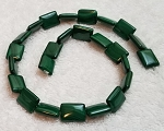 6 - 12x16mm Puff Rectangle Semiprecious Gemstone Beads - Malachite